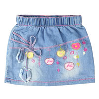 Girl S Embroidery Fruit Pattern Straight Mini Jeans Skirts Above Knee With Pockets For Toddler Kids