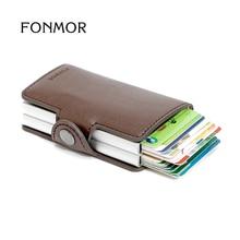 FONMOR Marque TwinWallet RFID Automatique Porte-Cartes Protecteur Mince Mini Portefeuille pu Cuir Carte Portefeuille Cardprotector
