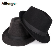 Classics Autumn 2019 Winter Short Brim Felt Fedoras Hat Men Black Red panama Vin