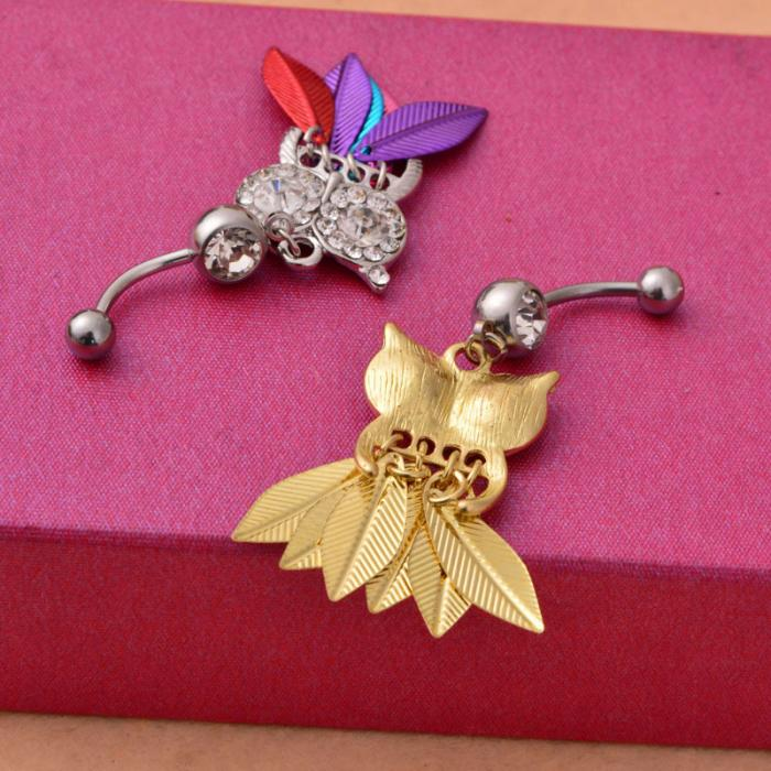 HTB1jQ58PpXXXXasXpXXq6xXFXXXW Belly Button Piercing Jewelry Crystal Owl Dangle Belly Button Ring For Women - 4 Colors