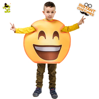 Children's Laugh emoji costumes kids Yellow Funny Jumpsuit fancy mascot Christmas halloween face cosplay costume suit for Party