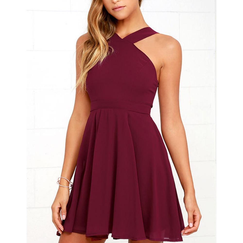 White Short Halter Chiffon Dress
