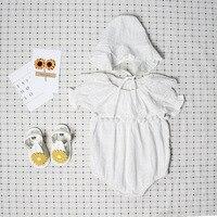 Симпатичные новорожденных для маленьких девочек Комбинезон на лето и весну принцессы Мех животных мяч пляжный костюм со шляпой костюм Слит...