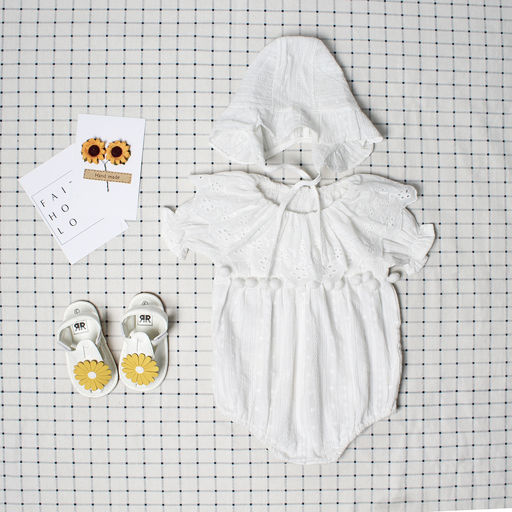 Cute Newborn Baby Girl Romper Summer Spring Princess Fur Ball Sunsuit with Hat Suit One Pieces Tassel Clothes Free Drop Shipping skullies beanies newborn cute winter kids baby hats knitted pom pom hat wool hemming hat drop shipping high quality s30