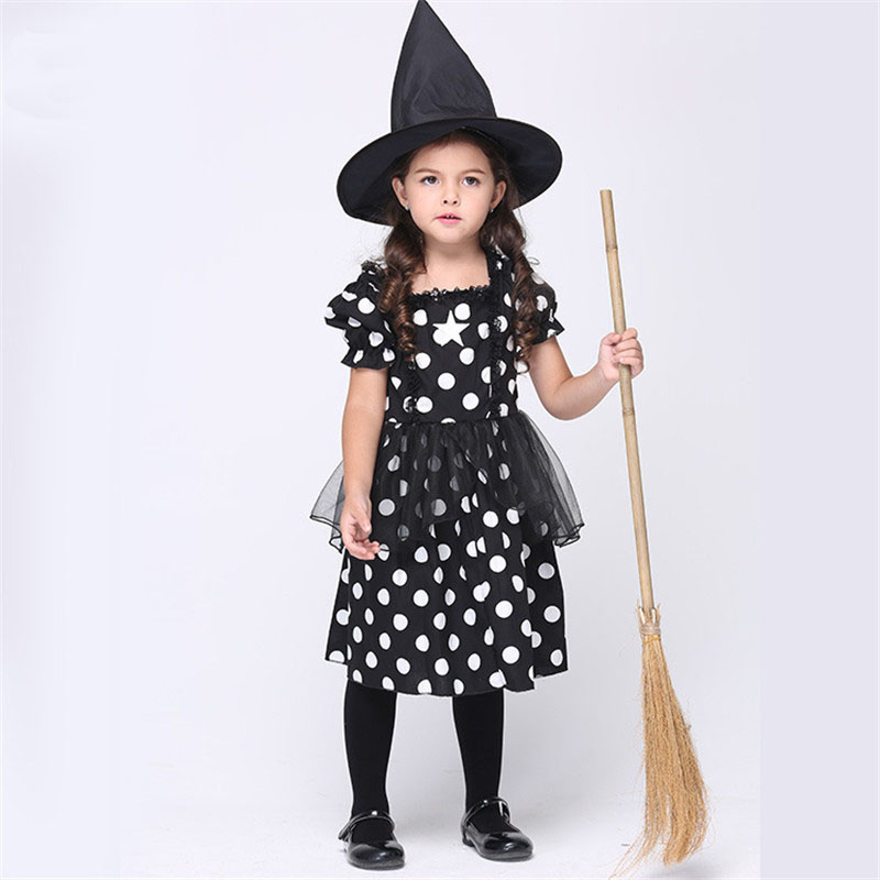 European Style Girls Party Dress Halloween Witch Polka Dot Costume Dress With Hat Summer Princess Festival Carnival Vestido