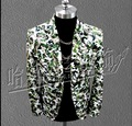 2016 New GD right Zhi-long PU leather Camouflage suit dress costumes nightclub bar men and women singers stage costumes clothing