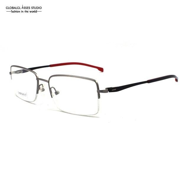 3db477a11bc Mature Half Rim Metal Glasses Frame Silver Frame Slim Acetate Black on Red  Temple Spring Hinge