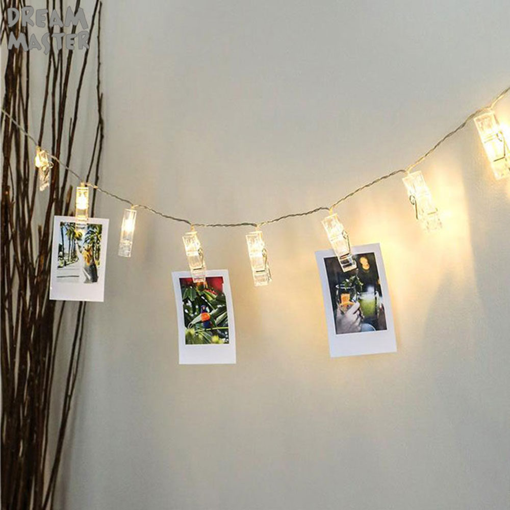LED מחרוזת אורות כרטיס תמונה קליפ מחזיק פיות זר מנורת עבור חג המולד לשנה חדשה מסיבת חתונה קישוט סוללה מנורת נופש