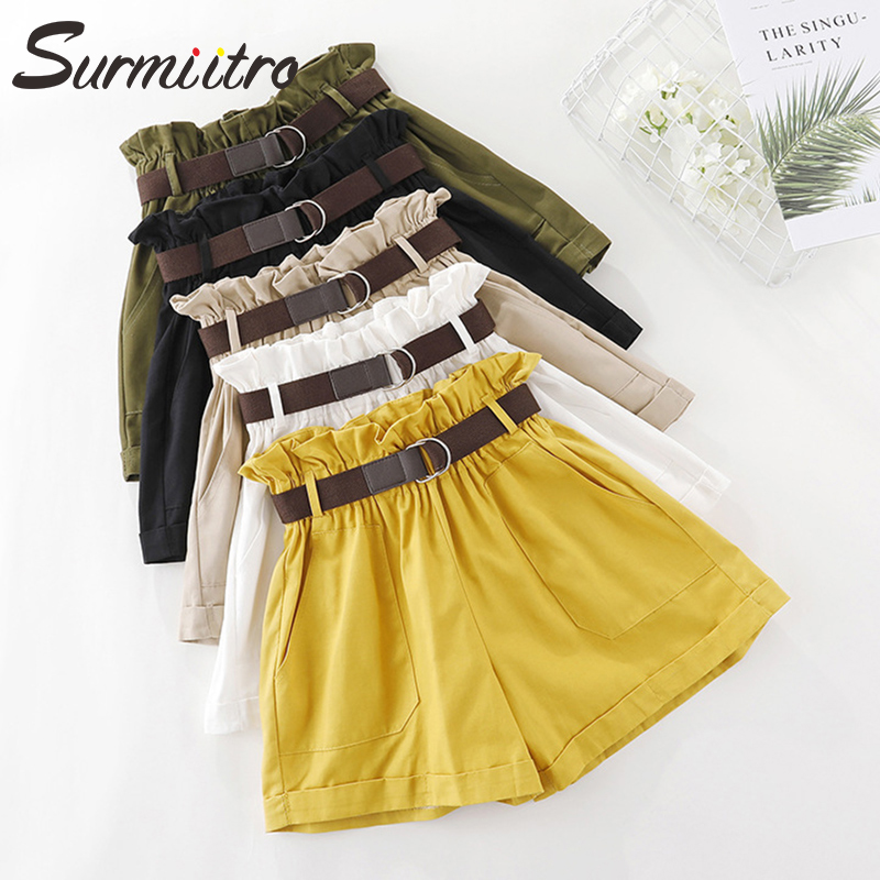 Surmiitro Cotton Korean Summer Shorts Women With Blet 2019 Fashion Ladies Casual Pocket High Waist Wide Leg Shorts Female