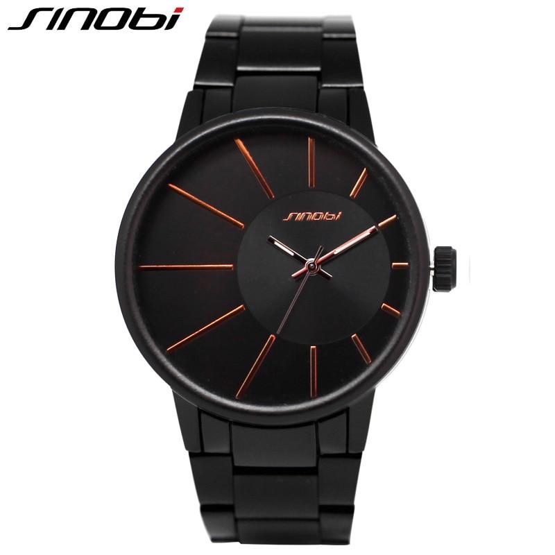 SINOBI luxury brand men quartz watch full Tungsten steel Waterproof Business Watch Fashion casual men s