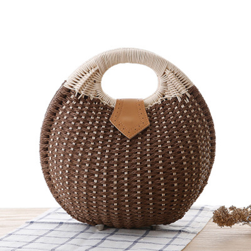 Beach-Bag Rattan Handbags Bali Shell-Shaped Women Purse Handmade Bohemian Summer Ladies