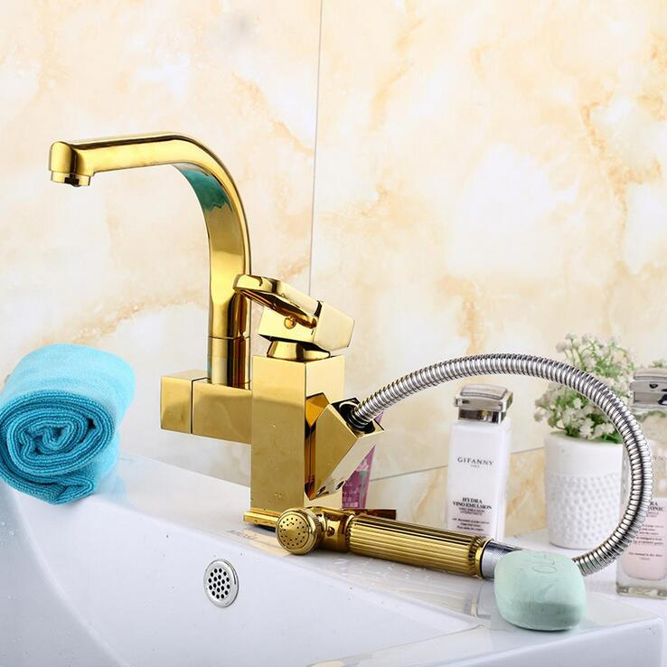 Stretched gold plated kitchen faucet pull down Rotated bathroom sink basin faucet hot and cold Copper