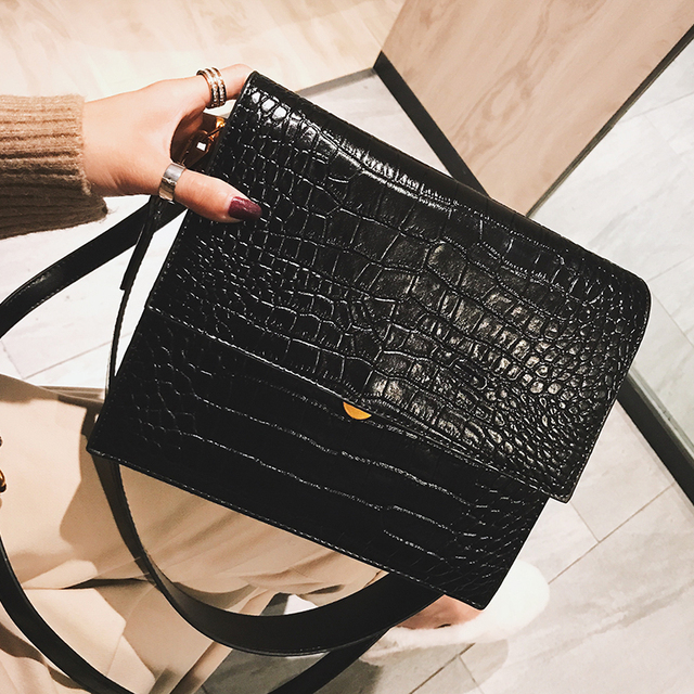 European Fashion Simple Women's Designer Handbag 2018 New Quality PU Leather Women Tote bag Alligator Shoulder Crossbody Bags 2