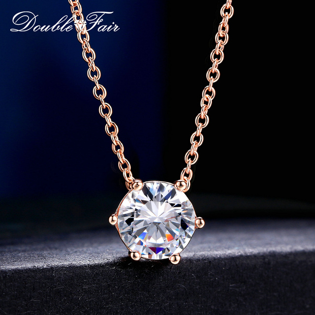 Double Fair Brand Simple OL Style 6 Claw Cubic Zirconia Necklaces & Pendants Rose Gold Color Chain Jewelry Gift For Women DFN431