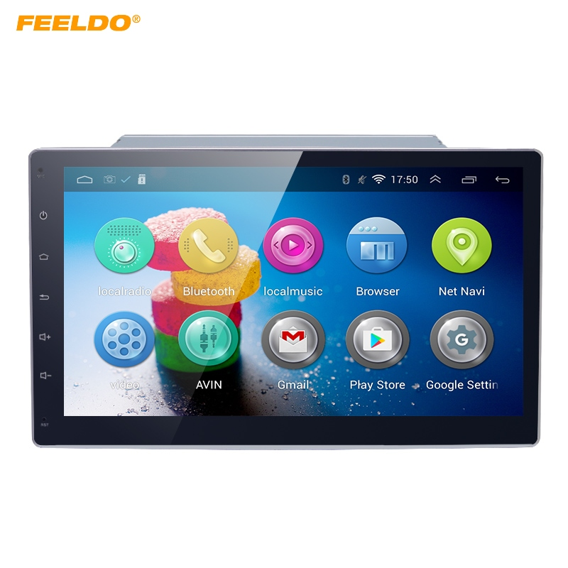 FEELDO 10.2inch Bigger HD Screen Android 4.4.2 Quad Core Car Media Player With GPS Navi Radio For Universal 2DIN ISO feeldo 7inch android 4 4 2 quad core car media player with gps navi radio for nissan hyundai universal 2din iso gift am3900