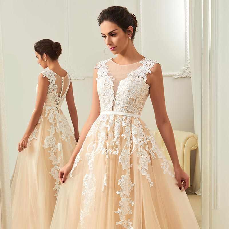 c664e8e04c3 ... Dressv champagne wedding dress scoop neck a line appliques court train  bridal gowns elegant long outdoor church