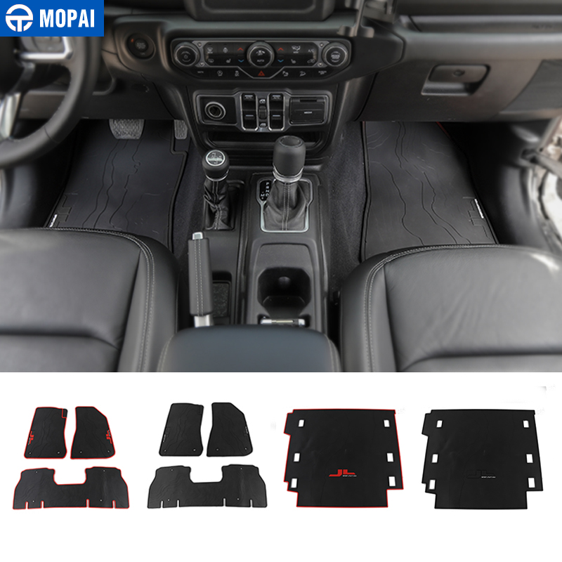 MOPAI Car Floor Mats for Jeep Wrangler JL 2018 Car Foot Mat Cargo Liner Trunk Pad