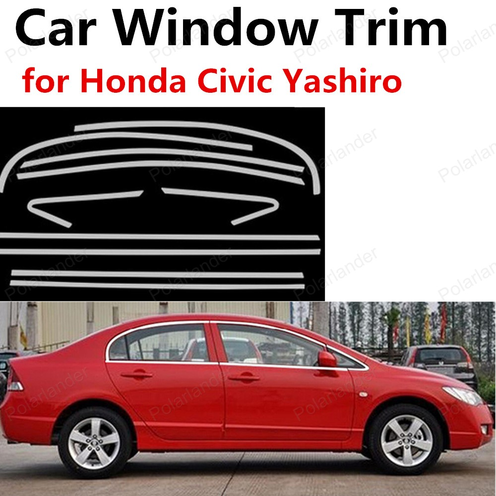 hot sell for Honda Civic Yashiro stainless steel window trims without center pillar window frame decoration trim stainless steel full window with center pillar decoration trim car accessories for hyundai ix35 2013 2014 2015 24