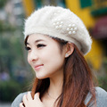 Women's solid rabbit hair Winter Hats With pearls Warm beret women's hats