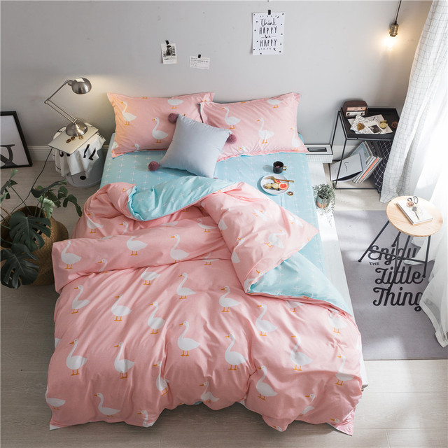 Pink White Cartoon Cute Duck Bedding Set Children S Bedroom Decor Single Double Bed Flat Sheets