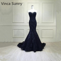 Vinca Sunny Real Photo Luxurious Off The Shoulder Mermaid prom dress 2017 Lace applique Party Gowns Custom Made abendkleider