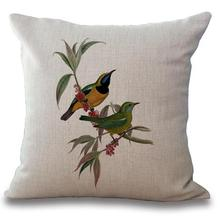 Hand Painted Cartoon Flowers And Birds Printing Linen Decorative Throw Pillow Office Chair Seat Backrest Waist Cushion