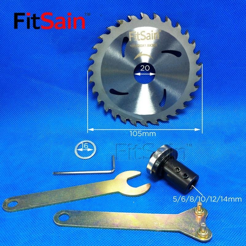 FitSain - Disco de corte para cortador de madera con hoja de sierra eléctrica de 105 mm (4 pulg.) Se utiliza para el eje del motor 5 mm / 6 mm / 8 mm / 10 mm / 12 mm para el acoplamiento del adaptador