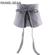 RAINIE SEAN Extra Wide Belt Female Wide Waistband Gray Cummerbunds For Women Autumn Winter Cotton Bow Strap Ladies Korean Belt