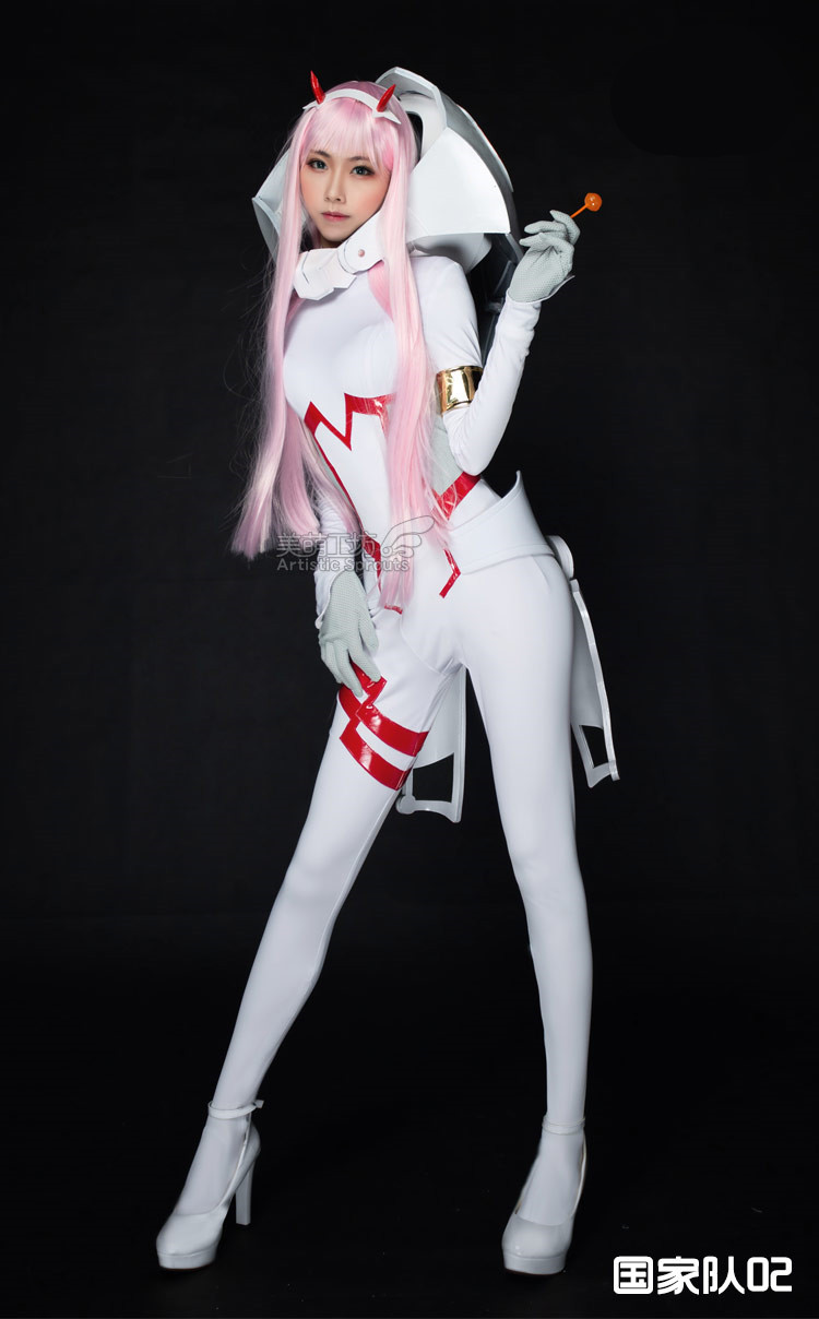 02 DARLING in the FRANXX Anime Cosplay White Zero Two cosplay costume Console driving suit jumpsuit