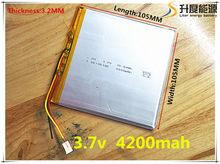 3 draht Tablet polymer batterie 4200 mah 3,7 V 32105105 smart home MP3 lautsprecher Li-Ion batterie für dvr,GPS,mp3,mp4, handy, sprechen