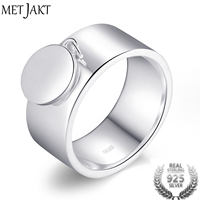 MetJakt Classic 925 Sterling Silver Round Charm Rings For Girlfriend Mother Friend Perfect Gift Pendant Ring