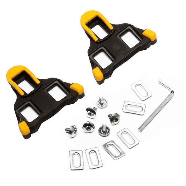 919bb2716 One set 2 x Bicycle Bike Self-locking Pedal Cleats Set Yellow For Shimano SM -SH11 SPD-SL for road Mountain Bike accessories