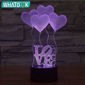 touch 3D illusion Lamp LED Night Lights 3D four Love Heart Acrylic bulb Discoloration Colorful Atmosphere Lamp lampara de lava lightning lava lamp christmas shark