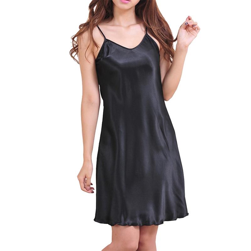 2017 Sexy Women's Nightshirts Satin Chemises Slip Sleepwear Size S-3XL short dress