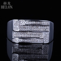 HELON Men's Sterling Silver 925 Finish Diamonds Ring Engagement Wedding Designer Fashion Band Fine Jewelry Party Diamonds Ring