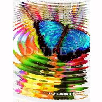 5D DIY Kim Cương Thêu Tranh Gắn Đá Full Vuông/Vòng Mũi Khoan bướm Xanh 3D Kim Cương Giả Trang Trí Nhà HYY