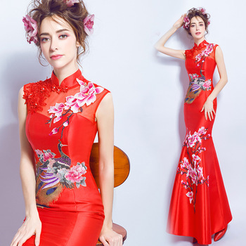 cheongsam dress lace red blue white qipao long dragon and phoenix chinese style wedding traditional elegant long mermaid