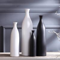 white black ceramic Fashion creative contracted flower vase pot home decor craft room decoration handicraft porcelain figurine