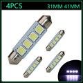 4pcs 2016 New 12V C5W Led Festoon Bulb 31MM 41MM 42MM 42 mm 4SMD 5050 Lights Xenon White for festoon Dome Led Light Lamp Bulbs