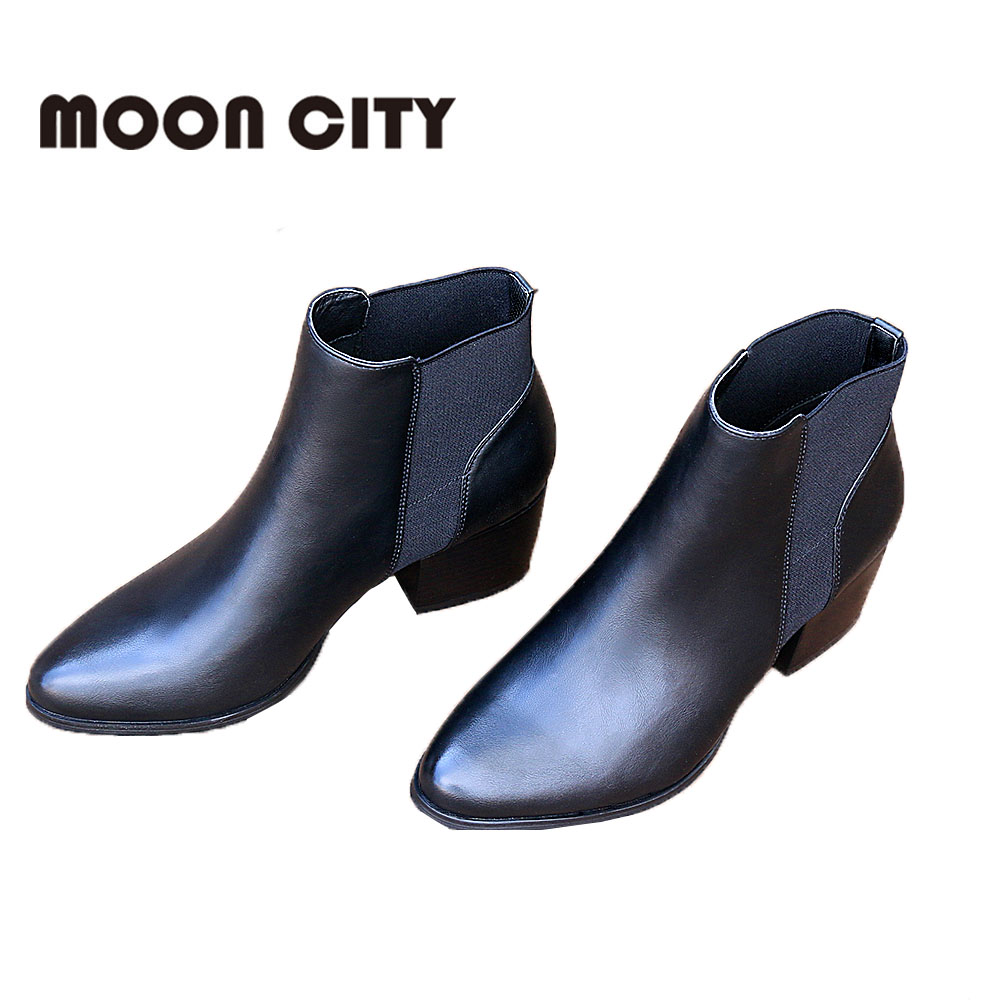 2019 New Women Fashion Boots spring Autumn Shoes Woman Black Ankle Boots Femme Leather Booties Ladies Short Boots plus size in Ankle Boots from Shoes