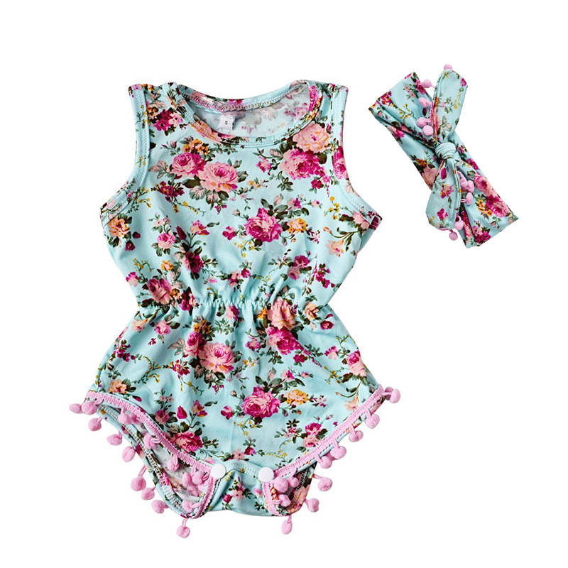 2017 Summer Baby Girls Rompers Floral Newborn Baby Girl One-pieces Romper O-Neck Sleeveless Jumpsuit Sunsuit Clothes Outfits Set
