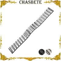 22mm Stainless Steel Watch Band for Panerai Luminor Radiomir Metal Strap Wrist Loop Belt Bracelet Black Silver Men Women + Pin