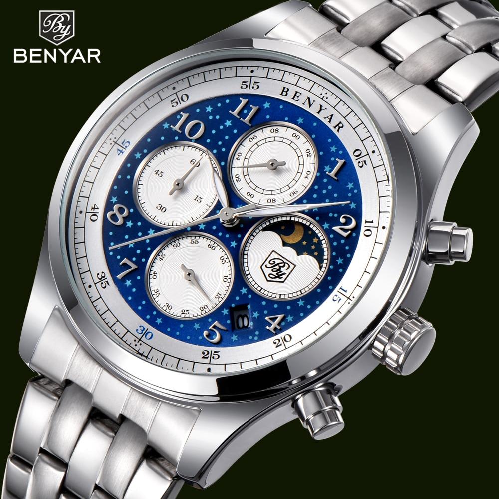 BENYAR Fashion Waterproof Men Watches Luxury Brand Full Stainless Steel Quartz Wrist Watch Moon Phase relogios masculino Clock