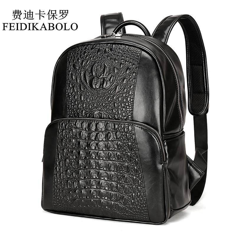 9db9bffa2e67 Купить FEIDIKABOLO Мода PU Крокодил для мужчин рюкзак мужской кожаный Рюкзаки  Высокое качество студент мешок рюкзак mochila Продажа Дешево