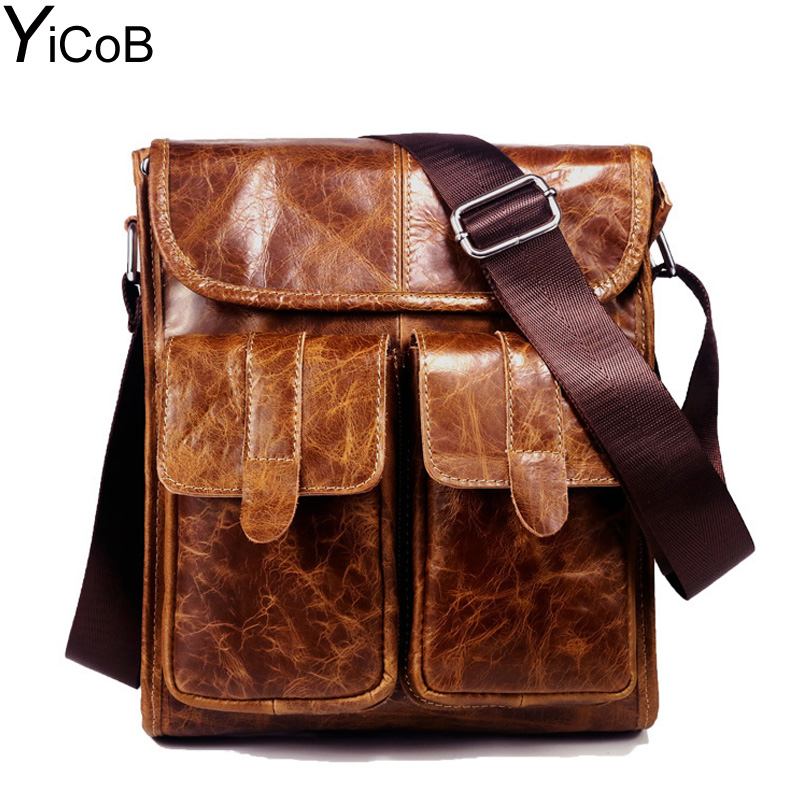 YiCoB Men Messenger Bags 100% Genuine Cow Leather Shoulder Bag First Layer Cowhide Crossbody Bag Oil Wax Real Leather Handbags yicob men messenger bags 100% genuine cow leather shoulder bag first layer cowhide crossbody bag oil wax real leather handbags