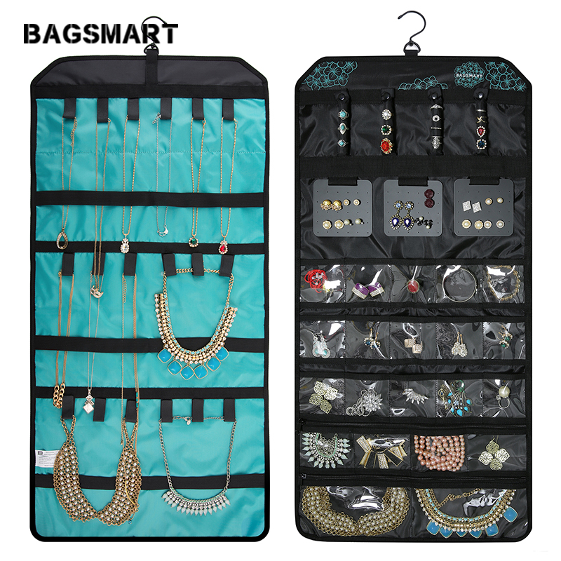 BAGSMART Jewelry-Organizer Roll-Up-Bag Hanging for Earrings Double-Sided