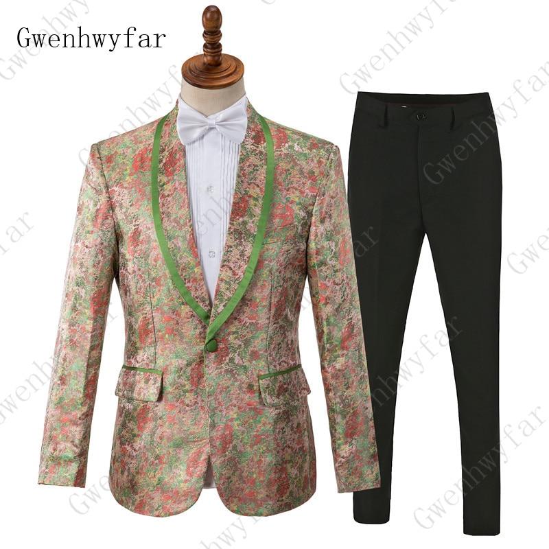 Gwenhwyfar 男性花スーツパンツファッションウエディングドレススーツ男性 2 ピース花結婚式のスーツステージ服焦がすため  グループ上の メンズ服 からの スーツ の中 1