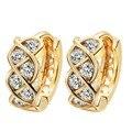 Hermosa Multi-tono de Oro Plateado Pendientes de la Boda de Lujo Pendientes Cristalinos Del Aro para Las Mujeres A1556