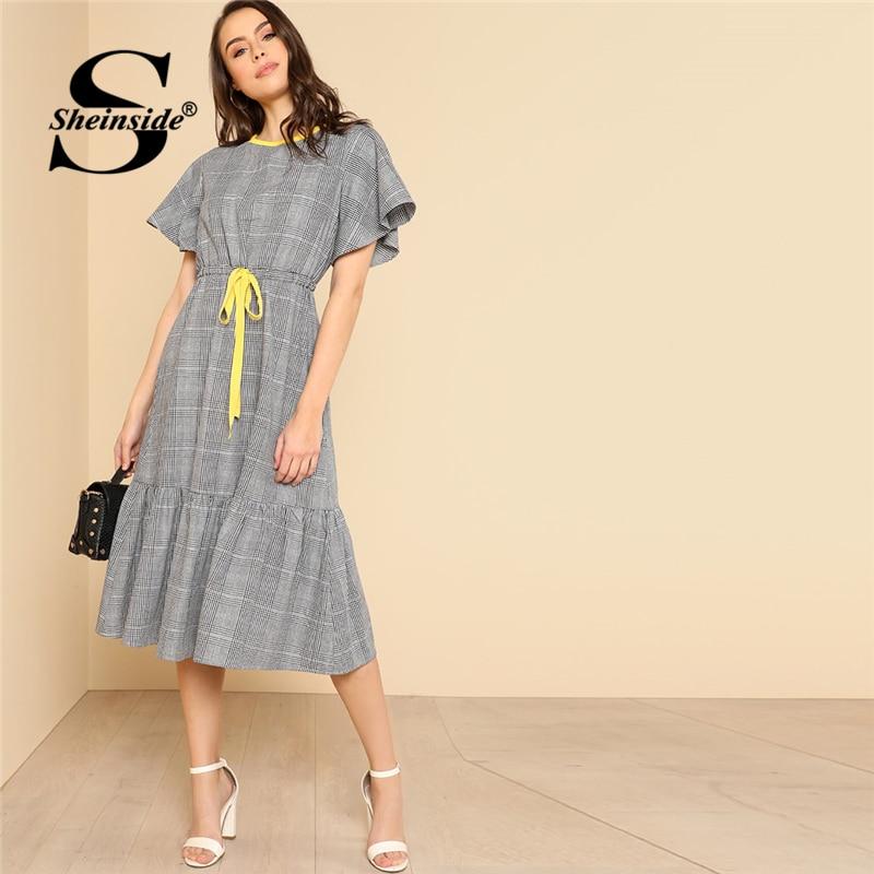 Sheinside серый шнурок талии рюшами клетчатое платье трапециевидной формы с круглым вырезом высокой талией 2018 летнее женское офисное платье OL