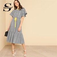 Sheinside Grey Drawstring Waist Ruffle Plaid A Line Dress Round Neck High Waist Dress 2018 Summer